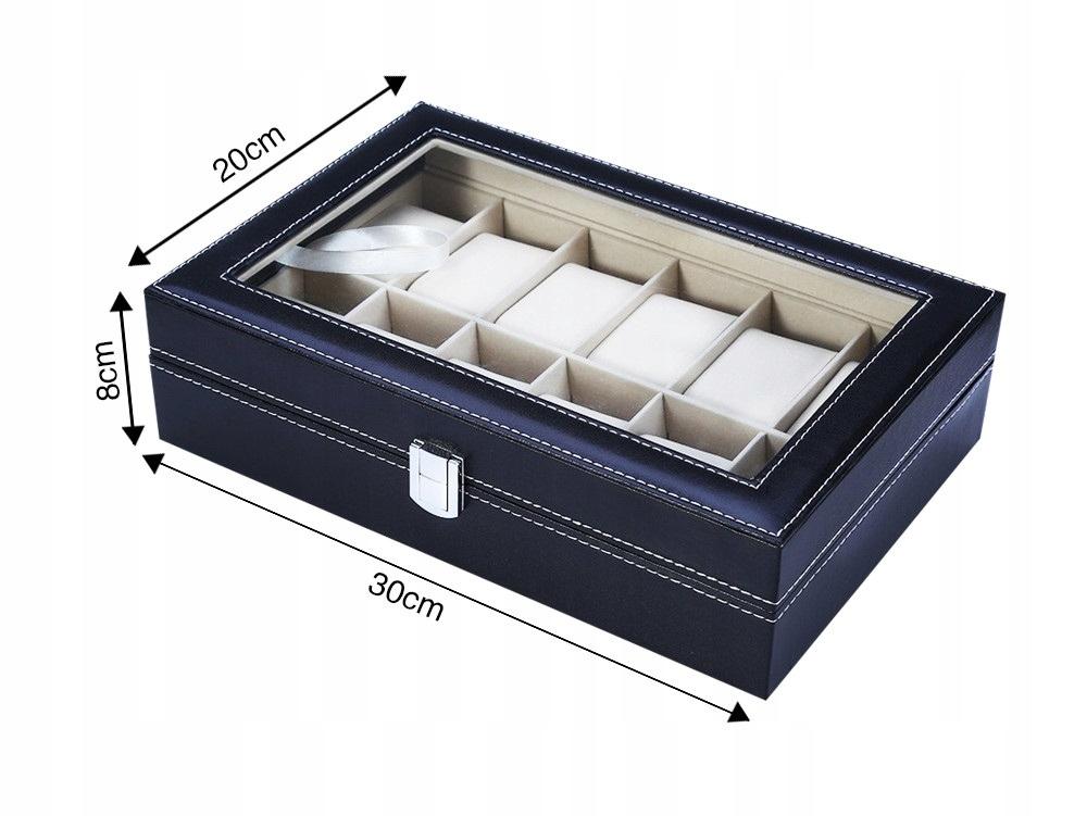 Elegancka szkatułka etui z szybką na 12 zegarków