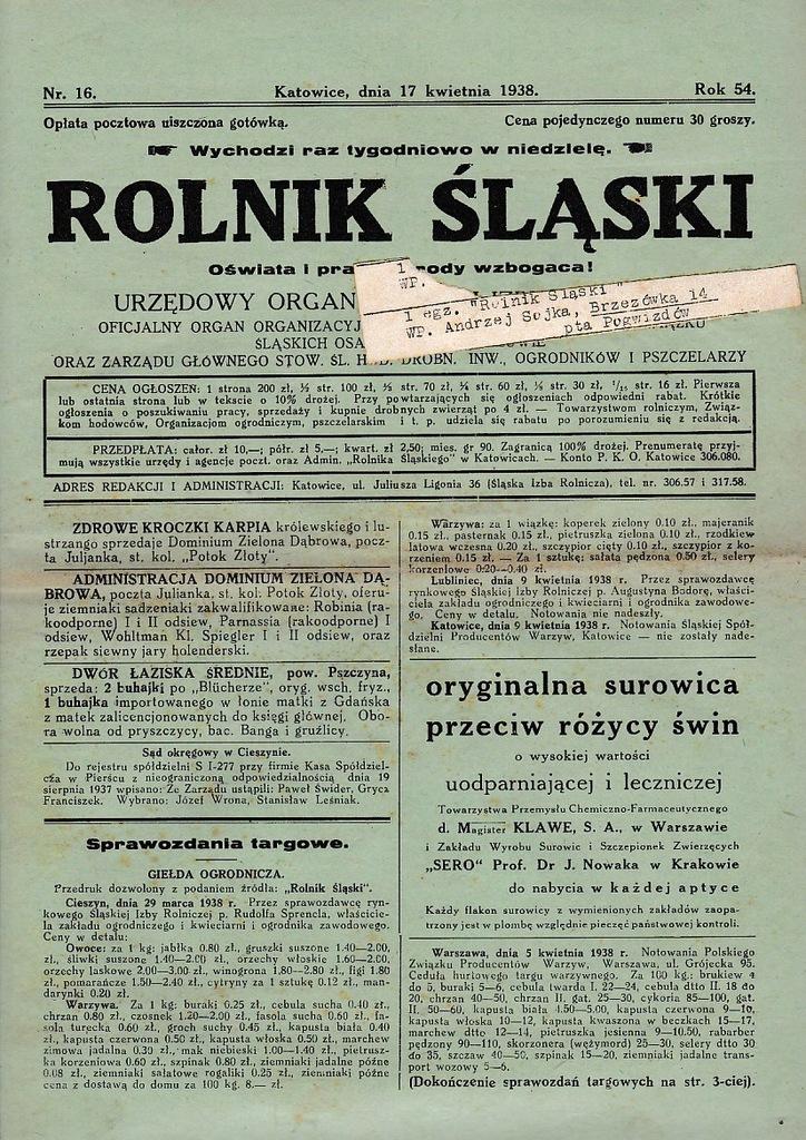 Rolnik śląski 1938 16 Strzebiń Suszec Studzionka
