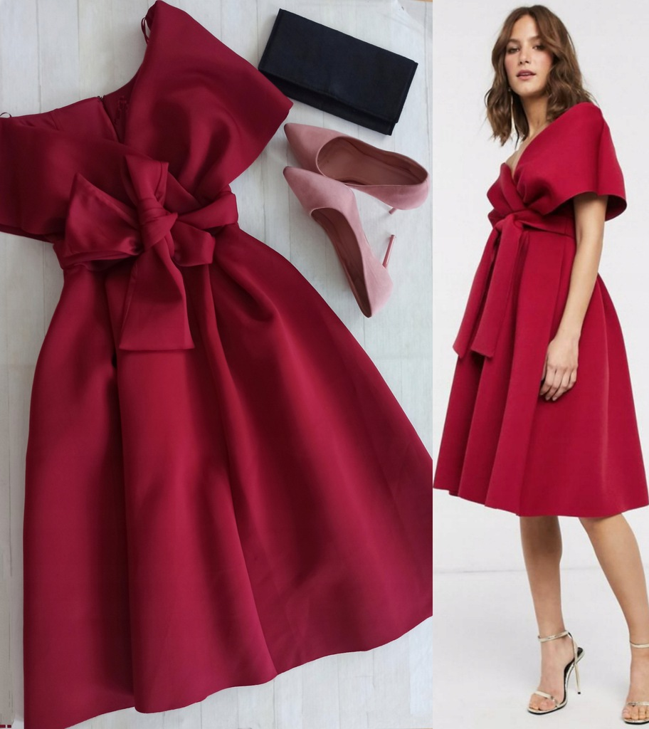 Sukienka wiśniowa 36 s kloszowana wesele plecy