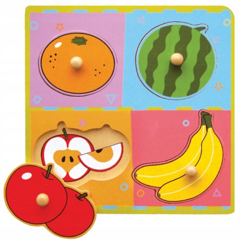 Drewniane Puzzle Owoce Układanka Niespodzianka