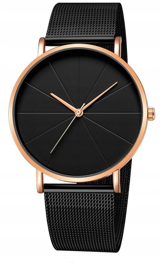 Zegarek damski klasyczny czarny złoty rose MOON