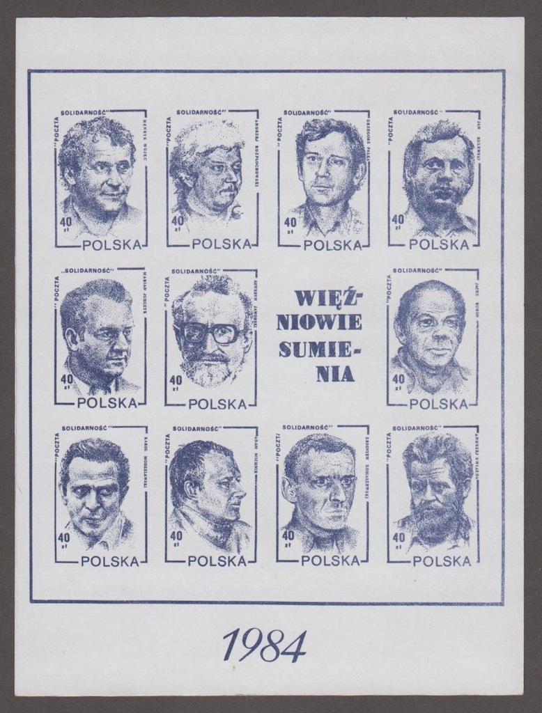 SOLIDARNOŚĆ - RZADKI BLOK -WIĘŹNIOWIE SUMIENIA '84