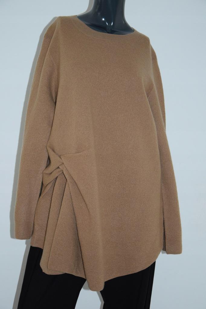 cos brązowy sweter wełna asymetria oversize L/40