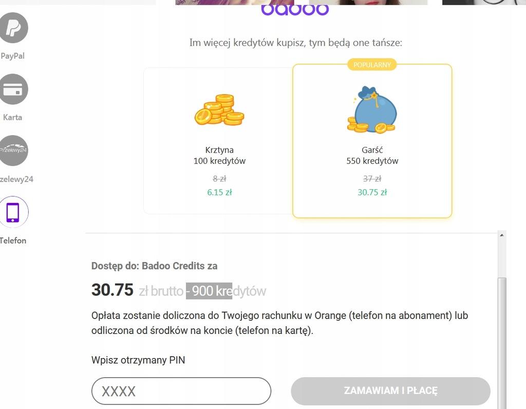 Badoo 550 kredytów za 22 PLN