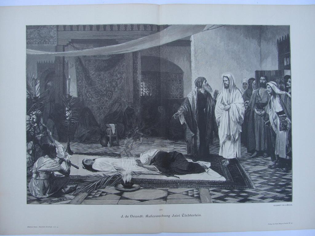 BIBLIA WSKRZESZENIE CÓRKI JAIRA drzeworyt 1893 r.