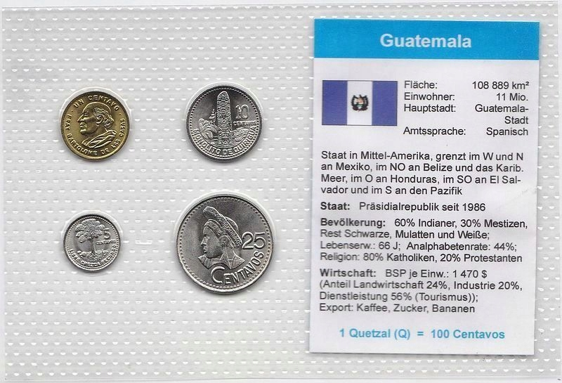 Gwatemala 1 Centavo - 25 Centavos 1993-94, Blister