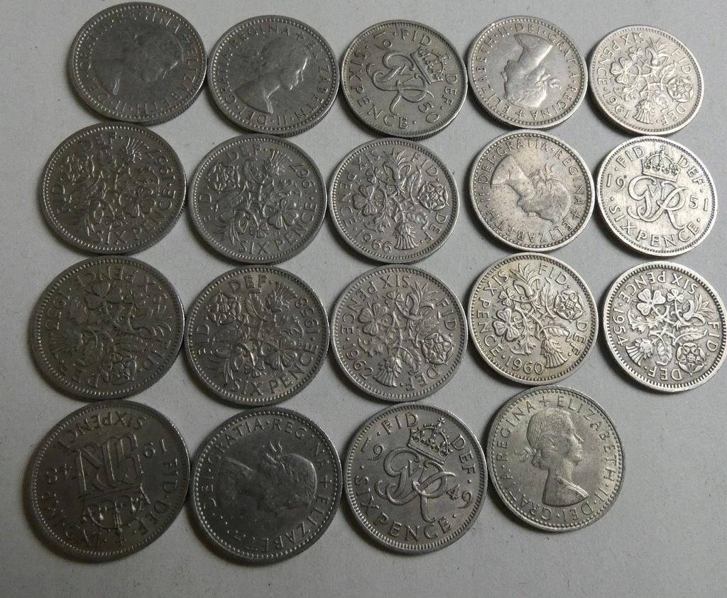Zestaw monet Wielka Brytania six pence x19 szt.
