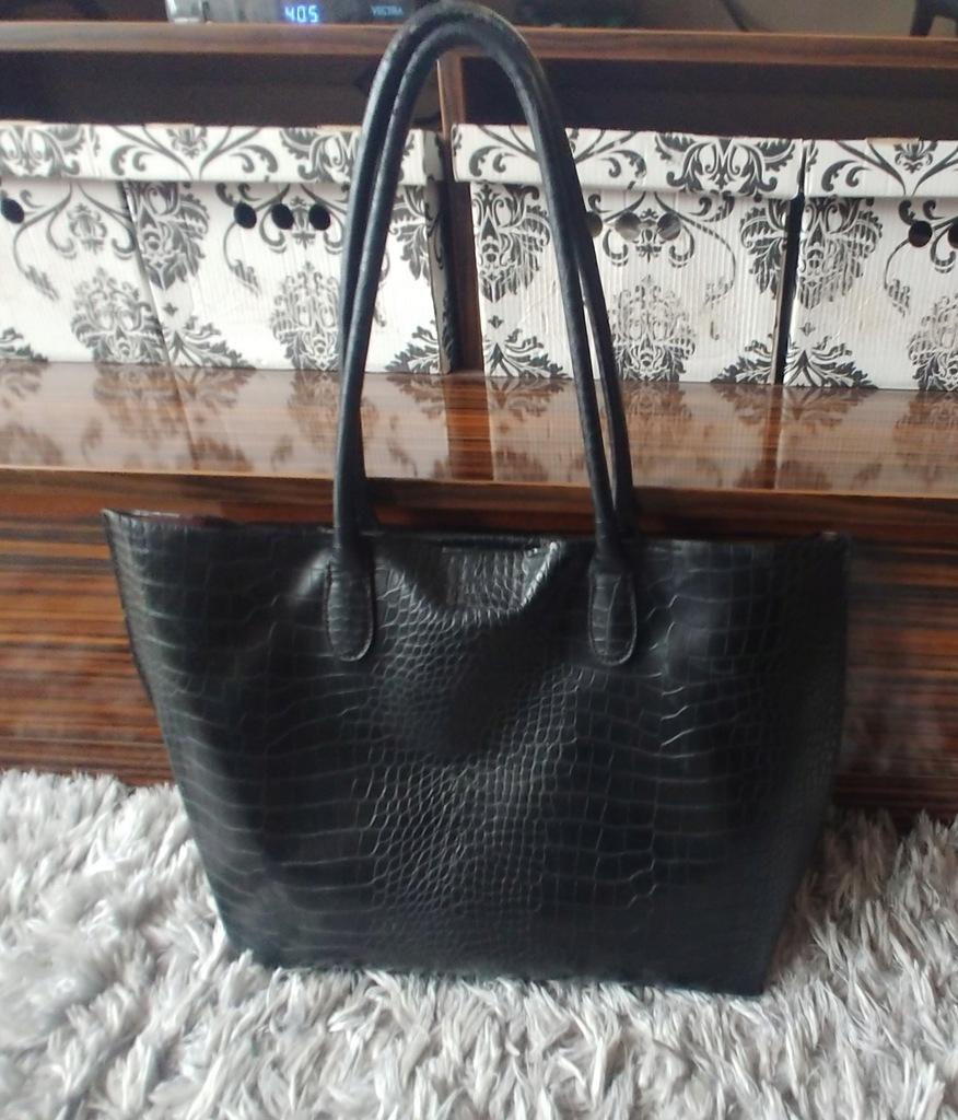 H&M torebka shopper czarna krokodyl eko db+
