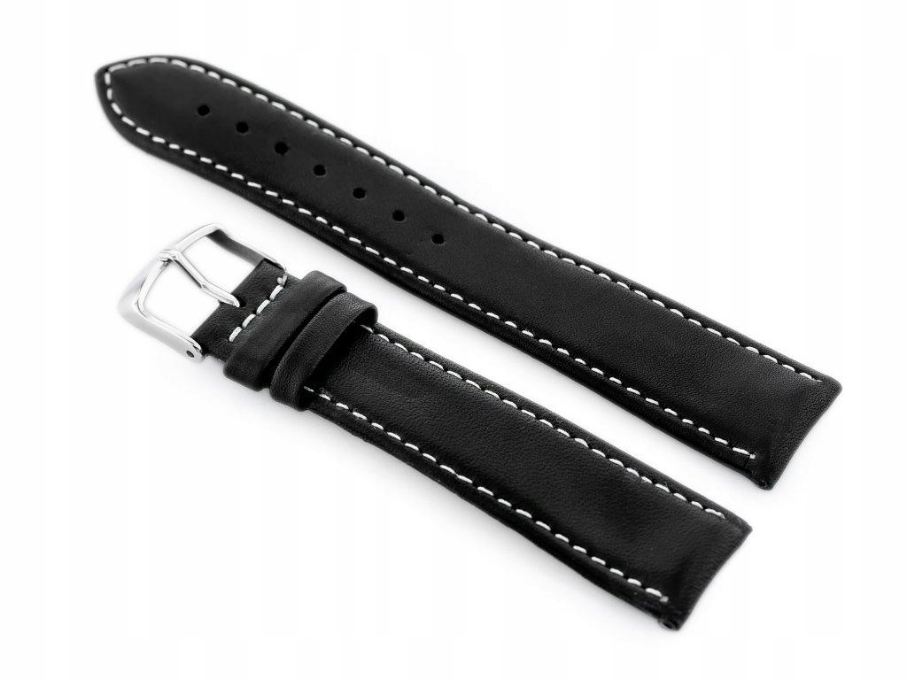 Pasek skórzany do zegarka W44L czarny/białe - 20mm