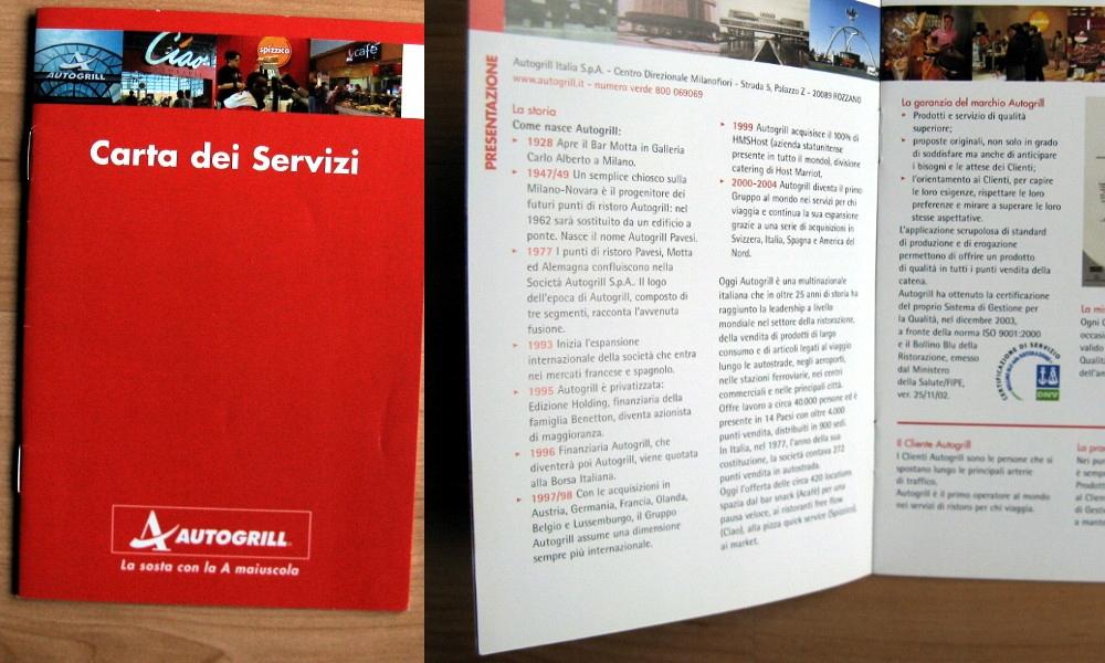 Informator Autogrill Włochy MOP autostrady 2004