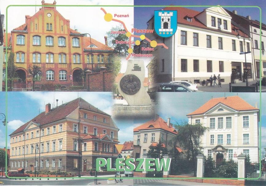 PLESZEW - SZKOŁA - LICEUM - RATUSZ - MAPKA - HERB