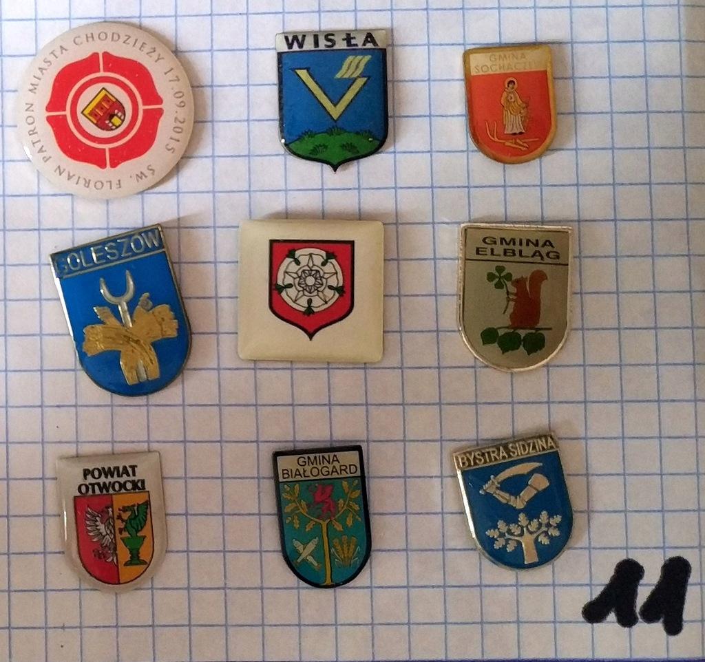 Zestaw odznak herb gmina powiat mix heraldyka 11