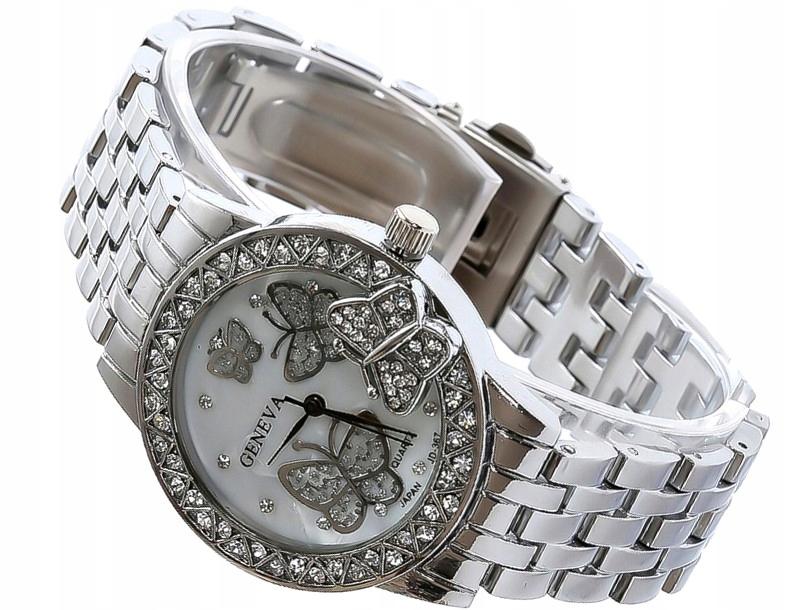 Zegarek ZŁOTY damski MOTYL Geneva bransoletka MESH