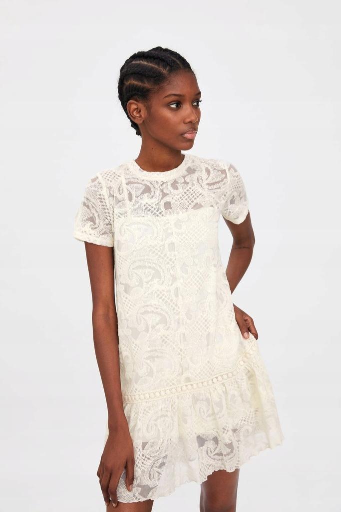 sukienki zara koronkowa azurowa