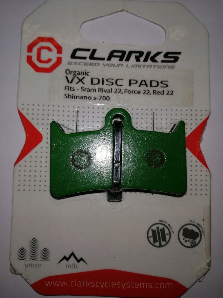 Klocki hamulcowe Clarks organic vx disc pads