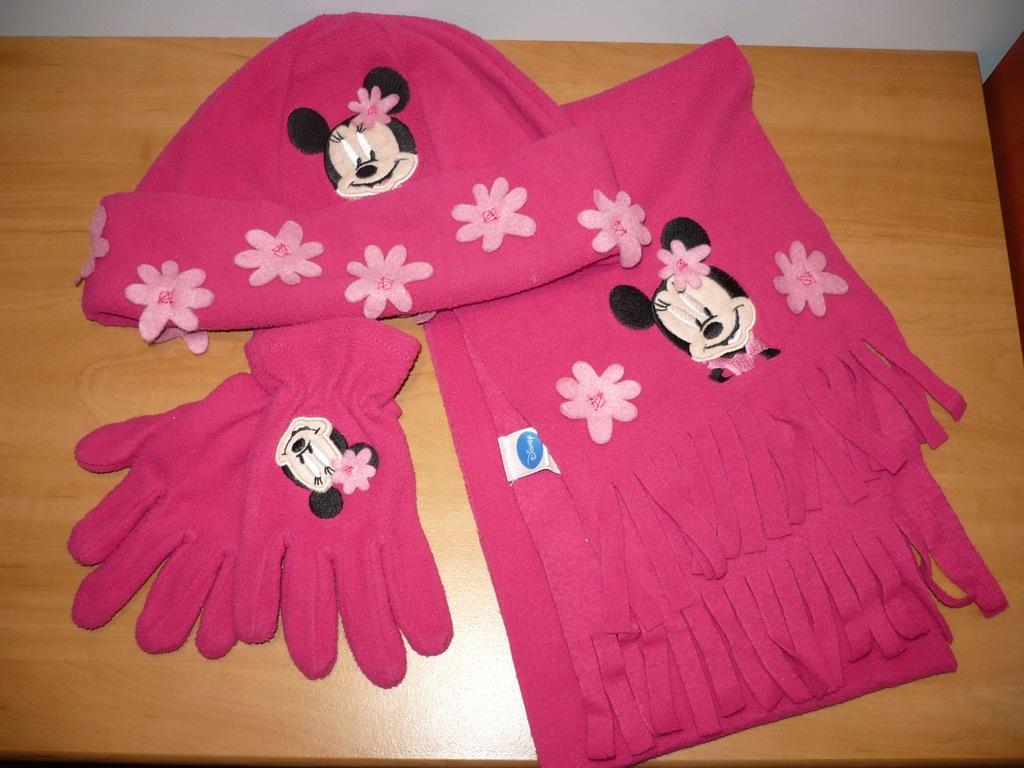 DISNEY Śliczna czapka szalik rękawiczki R. 54-56cm
