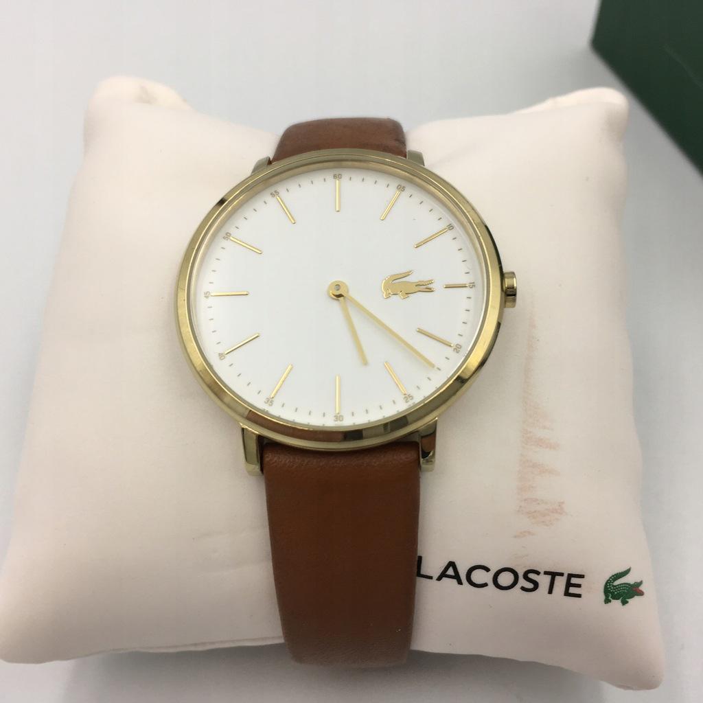 z3 LACOSTE zegarek damski złoty pasek brązowy