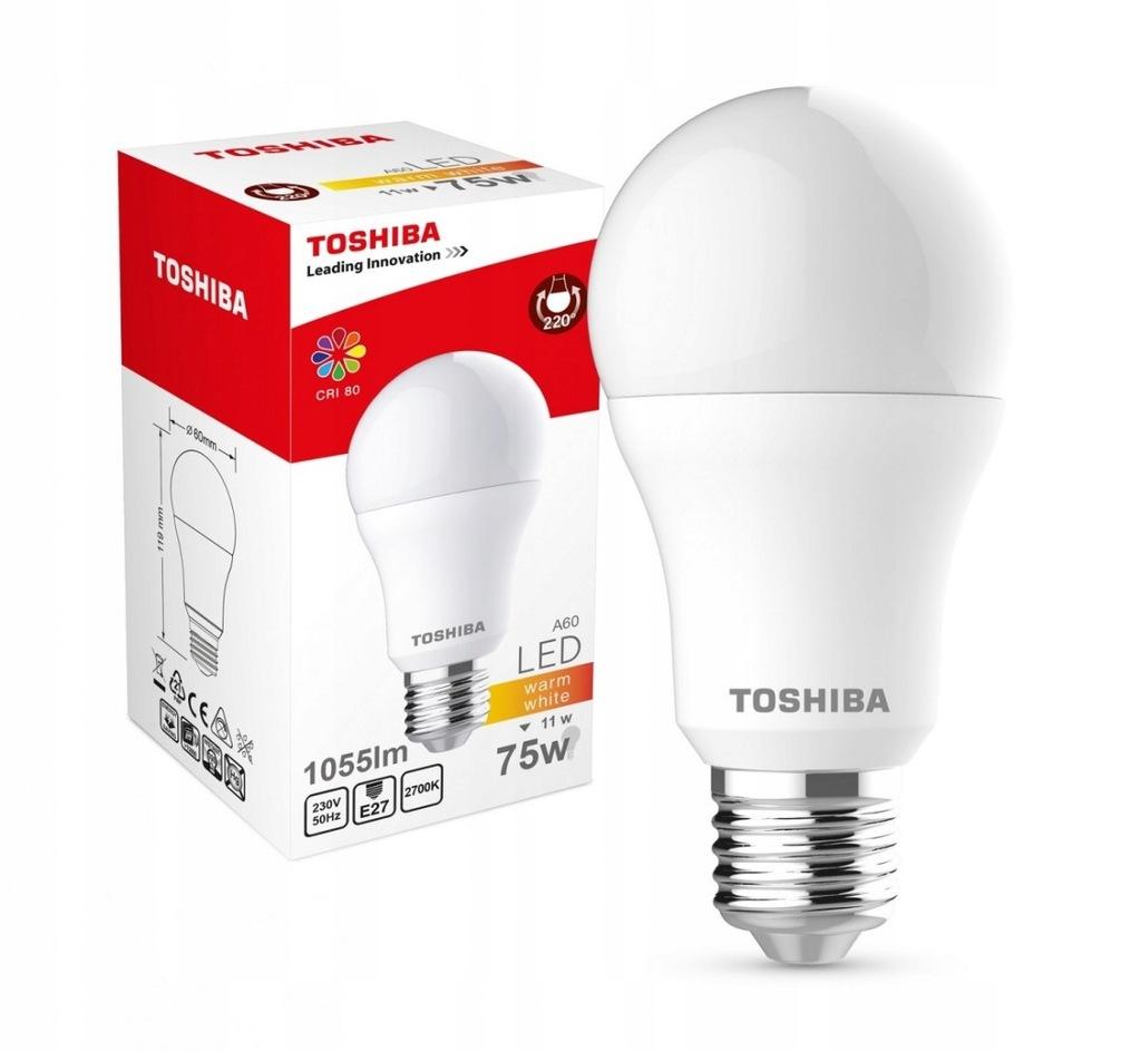 TOSHIBA Lampa LED 11W 230V 1055lm b.ciepły A60