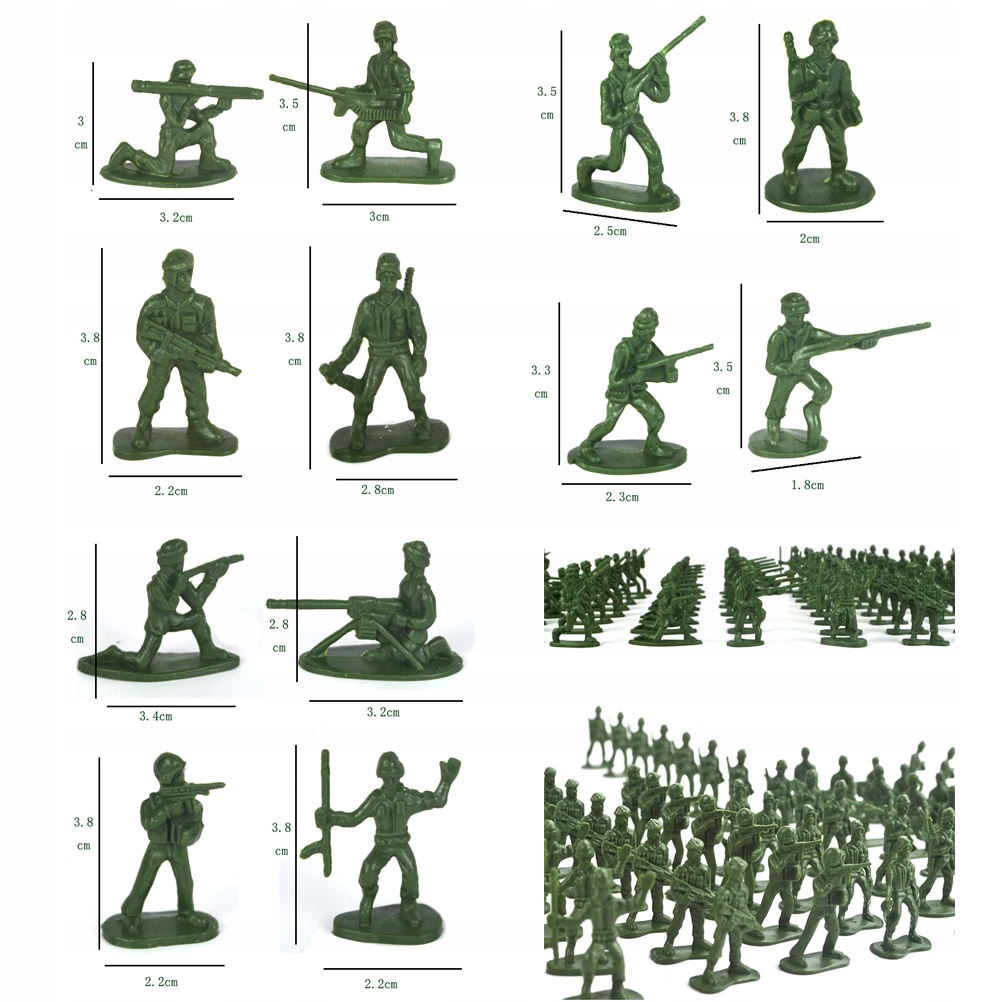 200 sztuk Plastikowe Żołnierze Wojskowe Figurki St