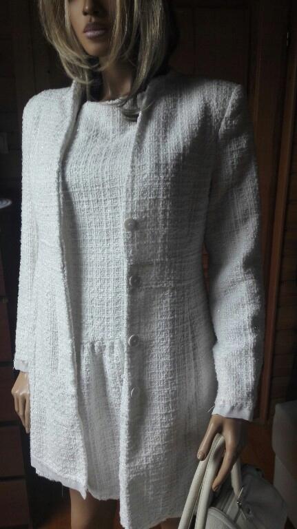 elegancki komplet sukienka płaszcz