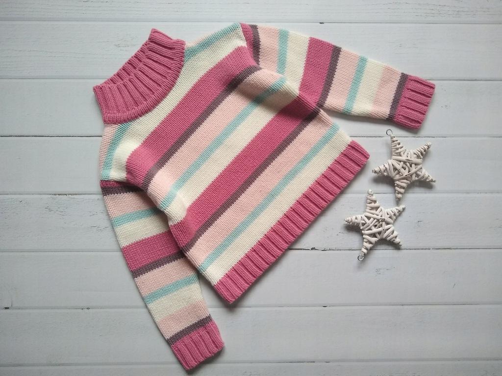 TU sweterek ciepły paseczki świetny stan 104 110