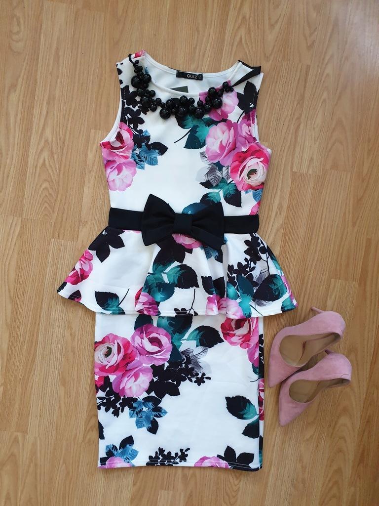 Nowa jasna sukienka baskinka kwiaty 36