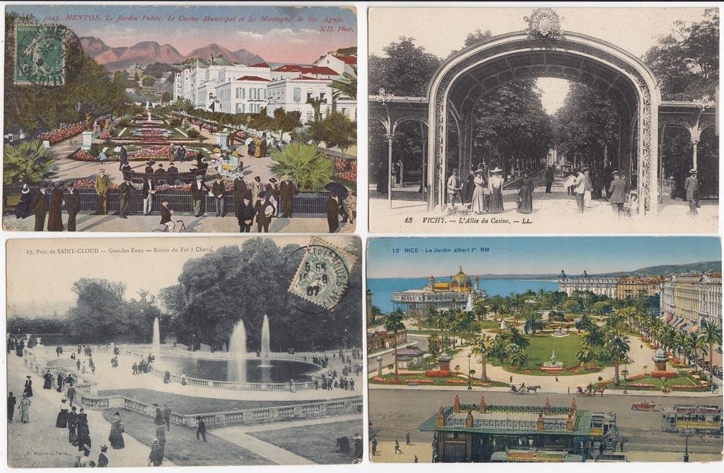 Stare pocztówki PARK OGRÓD (4 szt.) 4P01
