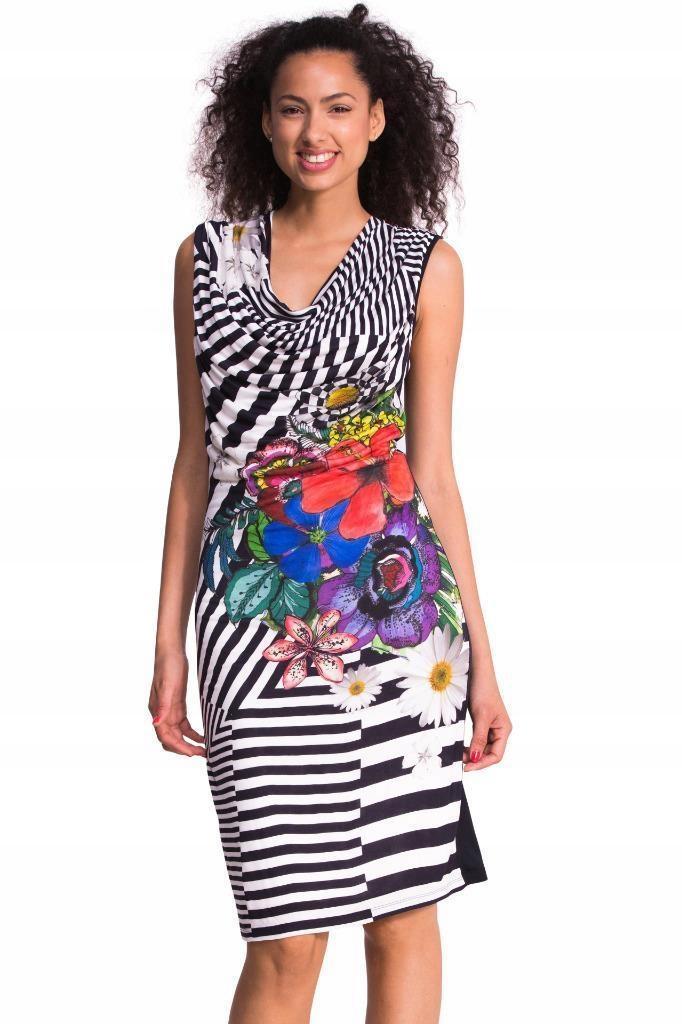 Śliczna sukienka paski kwiaty Desigual rozm. M 38