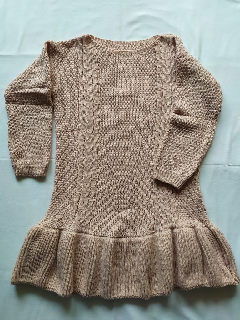 Sukienka Mini Tunika Sweter Falbana Dzianinowa