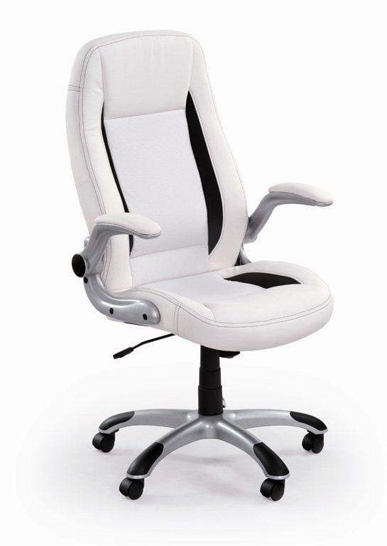 Krzesło biurowe SATURN białe podłokietnik składane