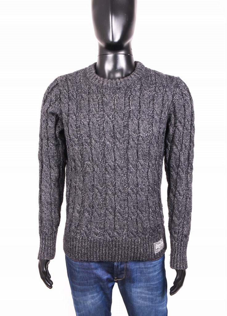 Superdry Vintage Sweter Męski Ciepły Szary roz M