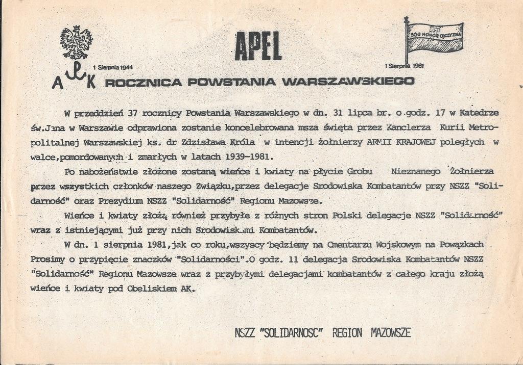 Solidarność, Powstanie Warszawskie, Plakat, 1981