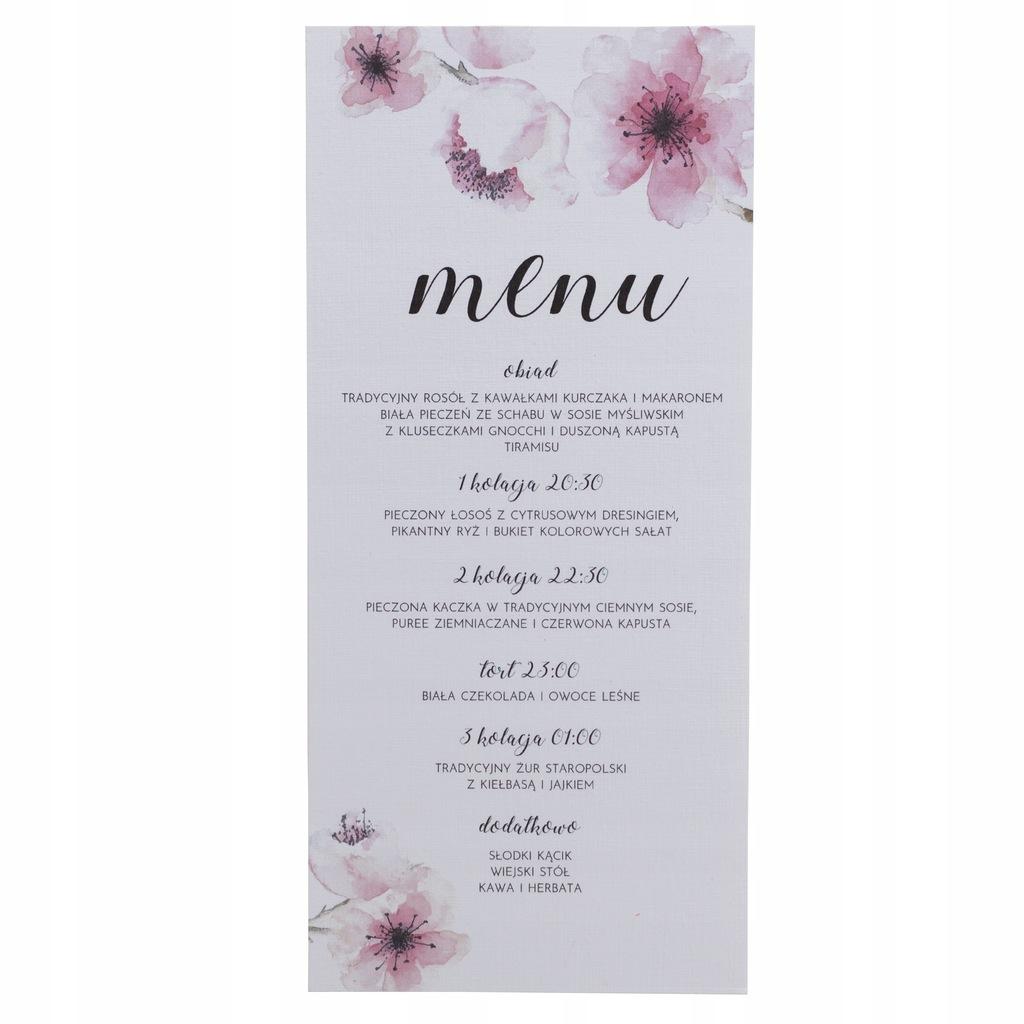 Menu ślubne weselne karta dań na wesele botaniczne
