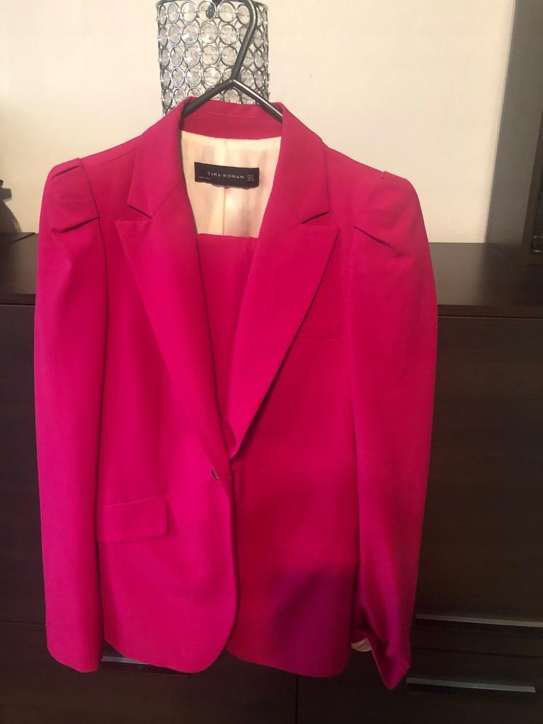 Garnitur Zara róż S 36 marynarka i spodnie
