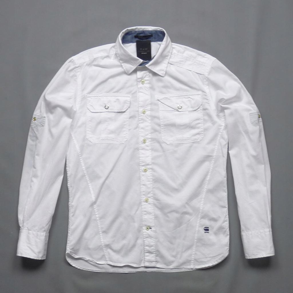 G-STAR RAW biała gładka męska bawełniana koszula M