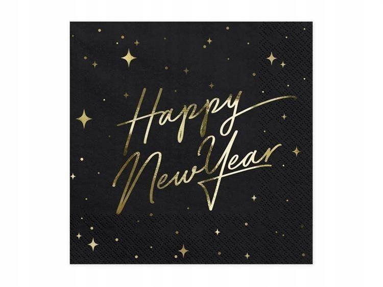 SERWETKI HAPPY NEW YEAR CZARNE 20 SZT. 33 CM