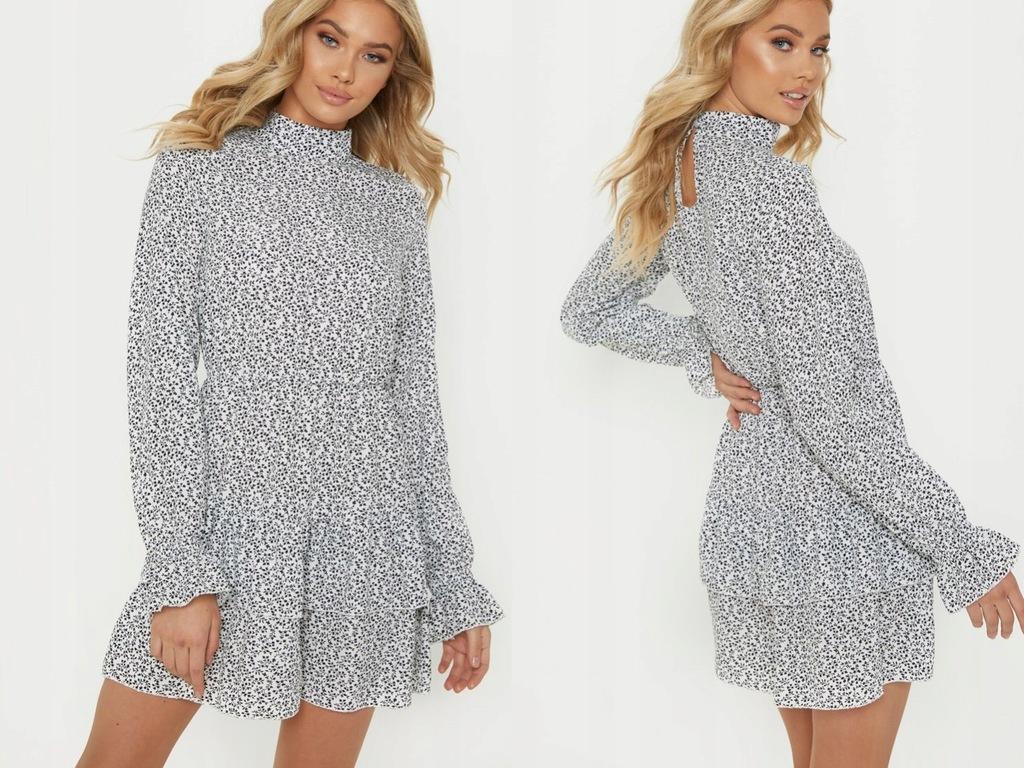 PrettyLittleThing Biała Mini Sukienka Falbana 32