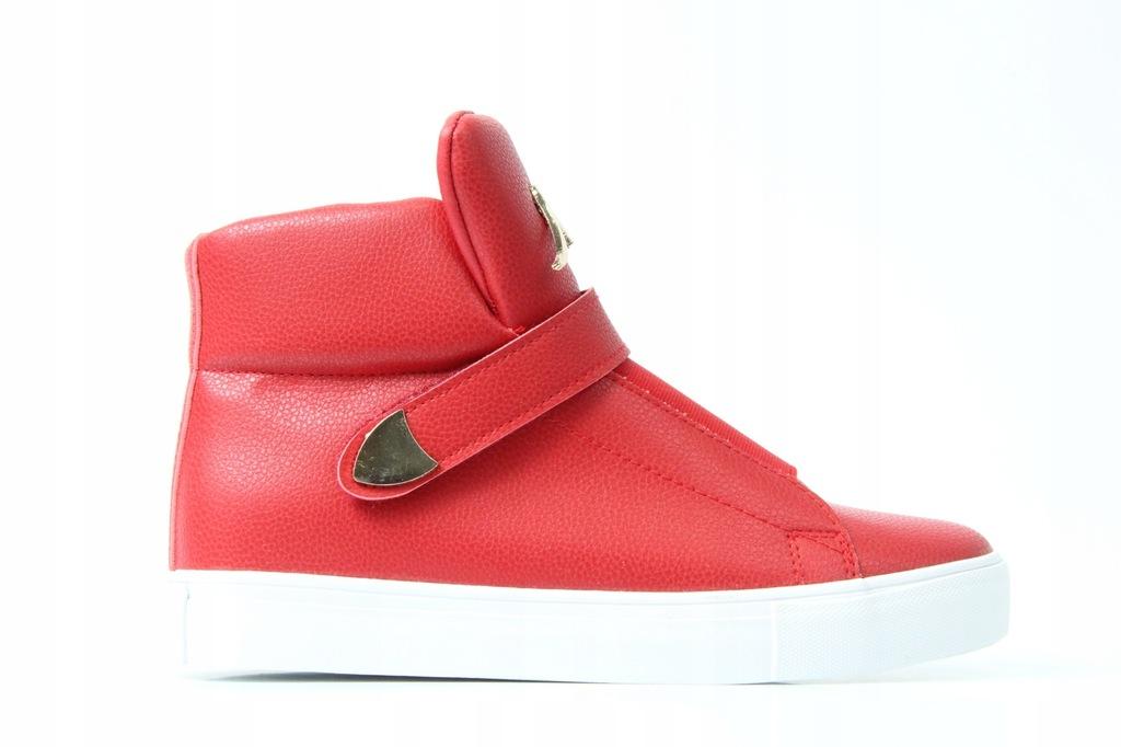 Sneakersy czerwone botki damskie rzepy płaskie, 38 Zdjęcie