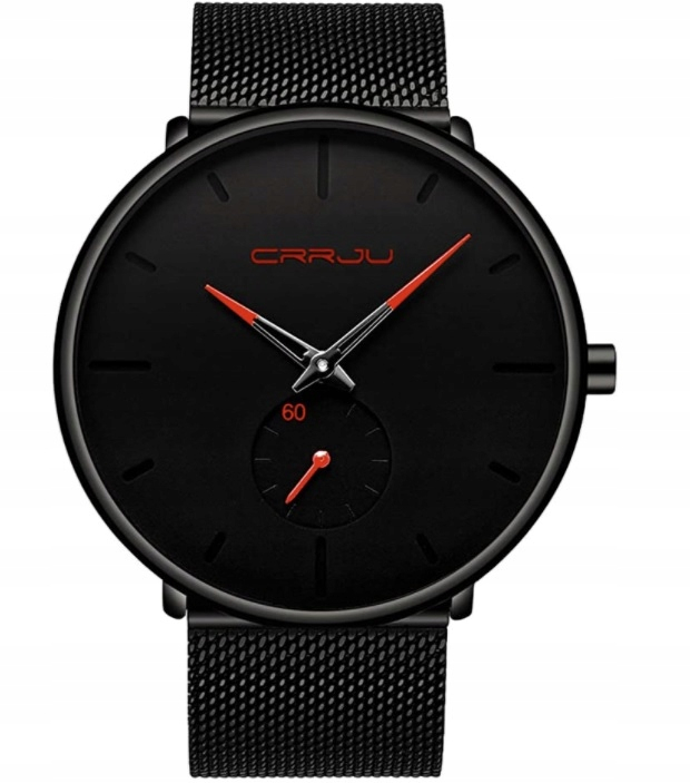 Zegarek męski czarny/czerwony elegancki klasyczny