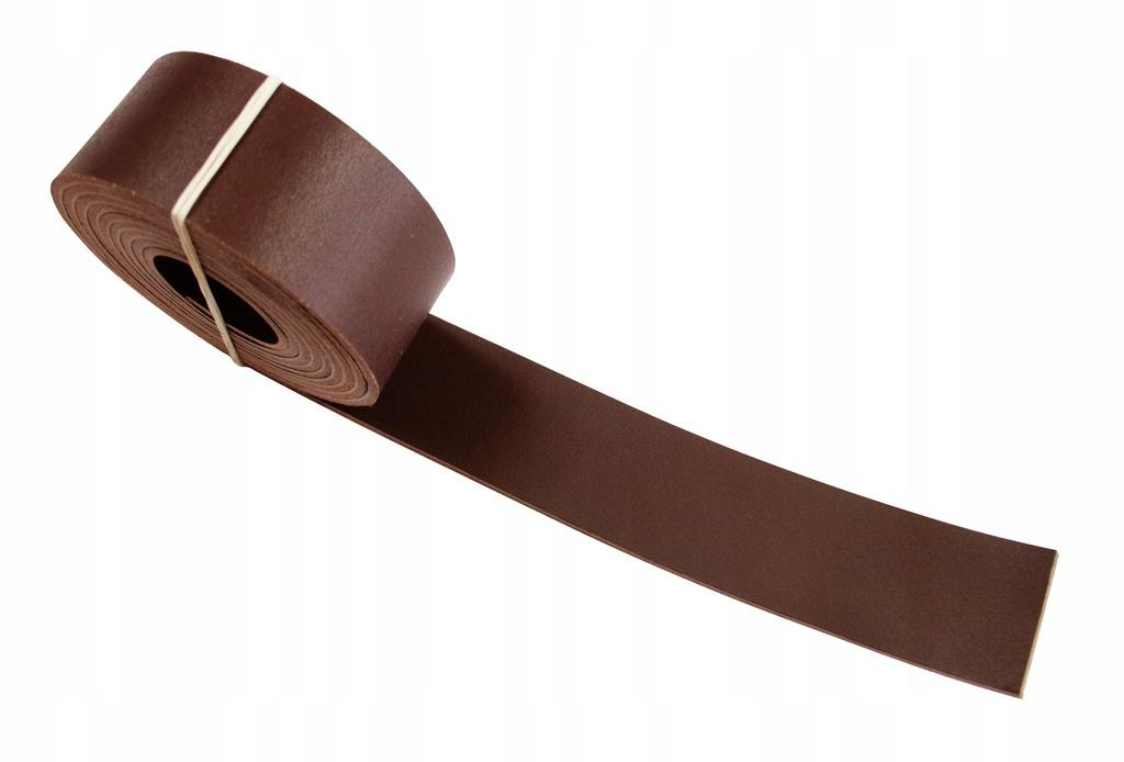 Pasek skórzany na torebki 35 mm ~200cm - c.brąz