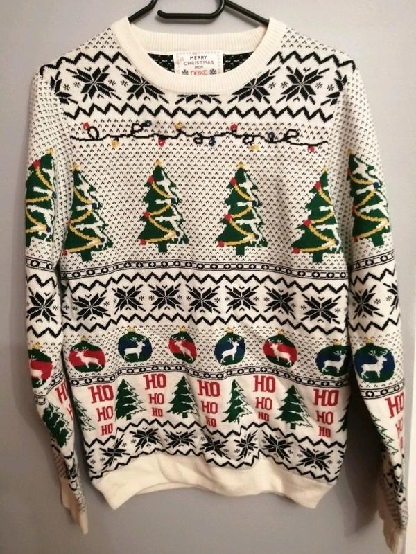 Sweter biały świąteczny christmas choinki Next S