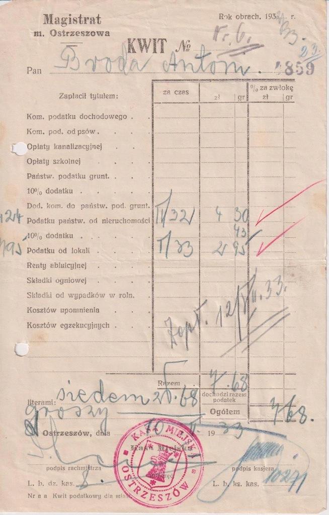 KWIT PODATKOWY OSTRZESZÓW 1933