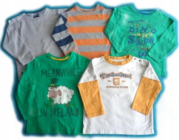 SUPER 5 fajnych bluzeczek CHŁOPIEC przedszkole 2-3