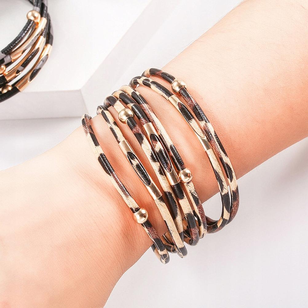 3PCS Magnetic Buckle Bracelets Creative Leopard Pr