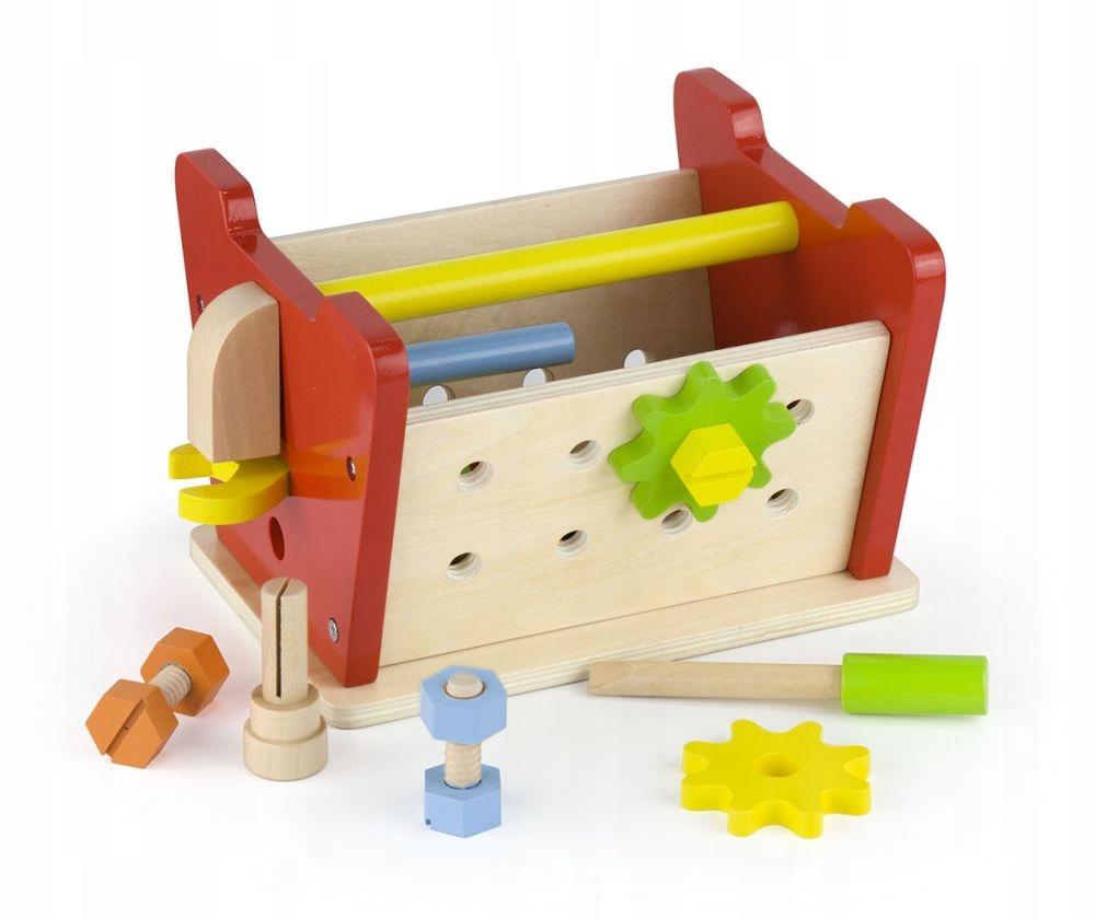 gwoździe mały warsztacik drewniana zabawka młotek w