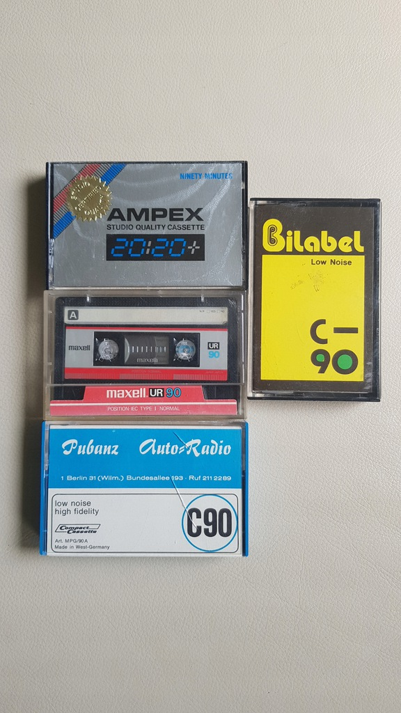 MAXELL, AMPEX. Vintage.Zestaw 4 kaset magnetofon.