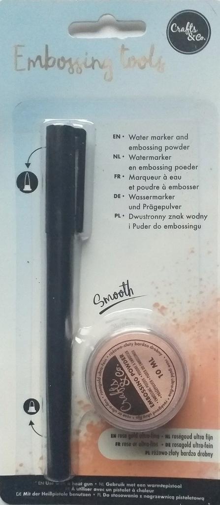 Puder do embossingu 10ml + marker zestaw rose gold