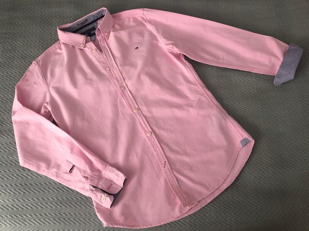 Koszula tommy hilfiger logo M różowa casual pracy