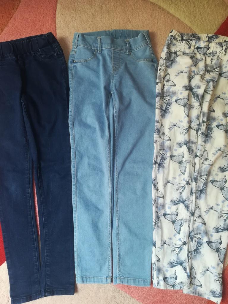 3x spodnie typu treggins roz 140/146