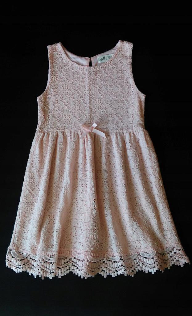 H&M sukienka koronkowa różowa koronka 110/116